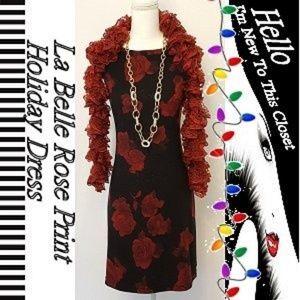 La Belle Rose Print Holiday Dress-Medium